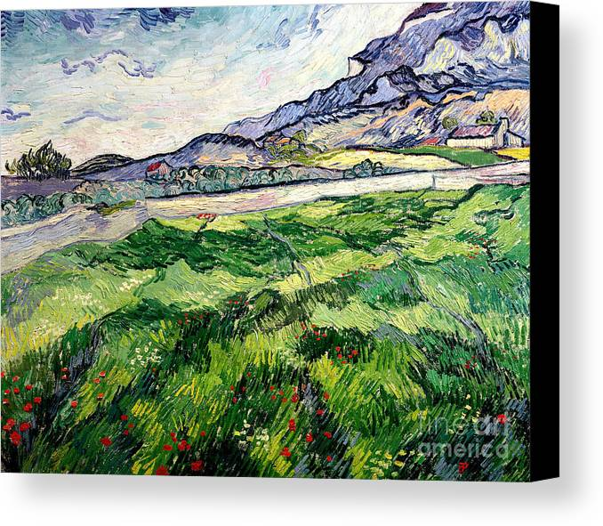 The Canvas Print featuring the painting The Green Wheatfield Behind The Asylum by Vincent van Gogh
