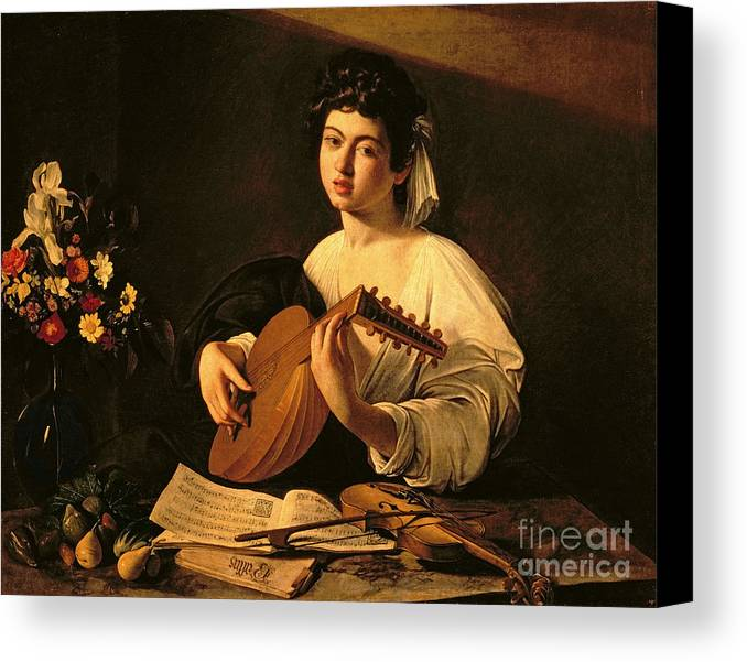 The Lute Player Canvas Print featuring the painting The Lute Player by Michelangelo Merisi da Caravaggio
