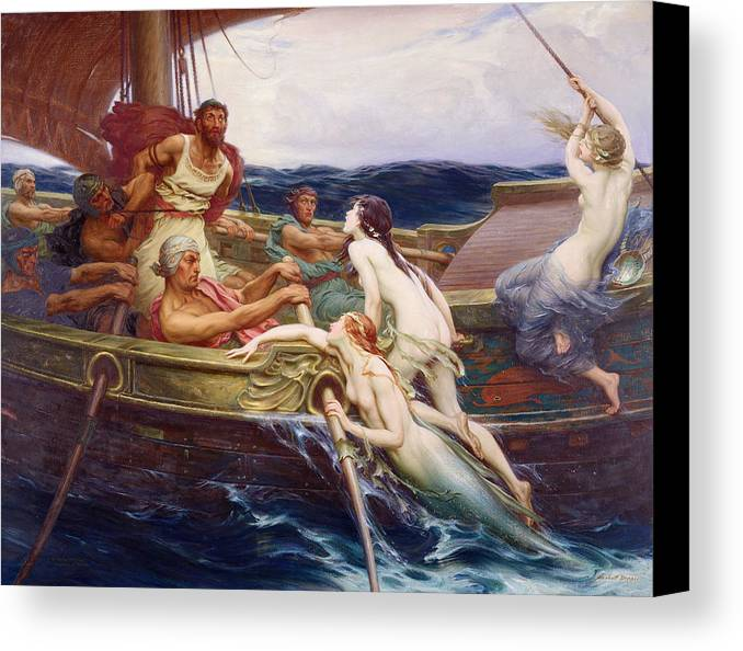 Ulysses And The Sirens Canvas Print featuring the painting Ulysses And The Sirens by Herbert James Draper