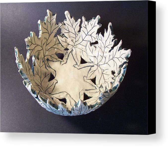 Clay Canvas Print featuring the ceramic art White Maple Leaf Bowl by Carolyn Coffey Wallace