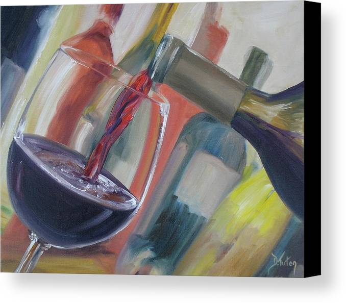 Wine Canvas Print featuring the painting Wine Pour by Donna Tuten
