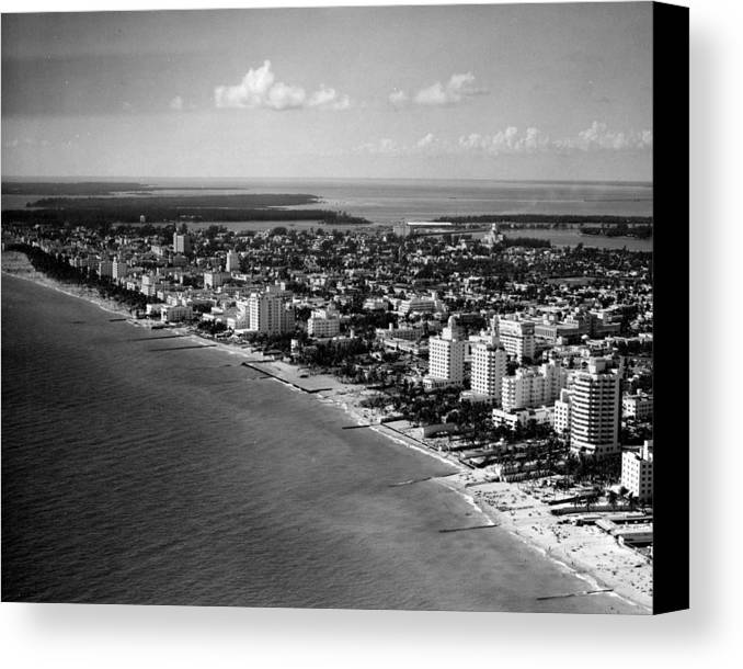 Miami Canvas Print featuring the photograph 1948 Miami Beach Florida by Retro Images Archive