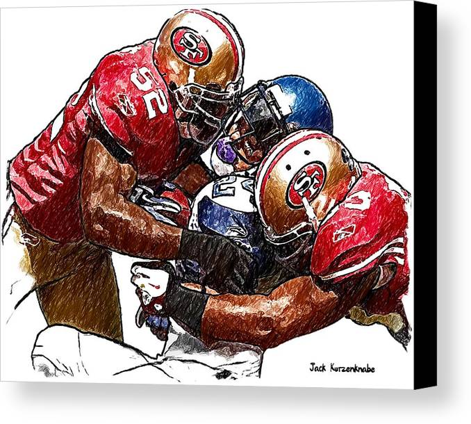 Sports Nfl Art Sketch Drawings nfl Art nfl Artwork nfl Drawings nfl Sketches san Francisco 49ers seattle Seahawks San Francisco 49ers Navorro Bowman And Patrick Willis Seattle Seahawks Michael Robinson Canvas Print featuring the digital art 300 by Jack K