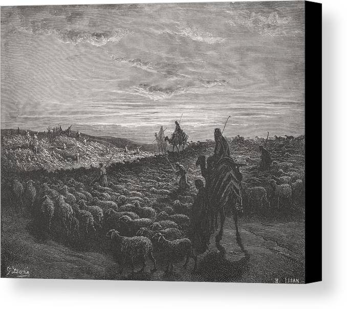 Herding Canvas Print featuring the painting Abraham Journeying Into The Land Of Canaan by Gustave Dore