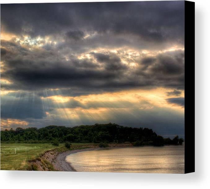 Lake Ontario Canvas Print featuring the photograph Art For Crohn's Lake Ontario Sun Beams by Tim Buisman