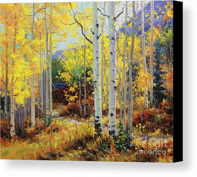 Durango Canvas Print featuring the painting Aspen Cabin by Gary Kim