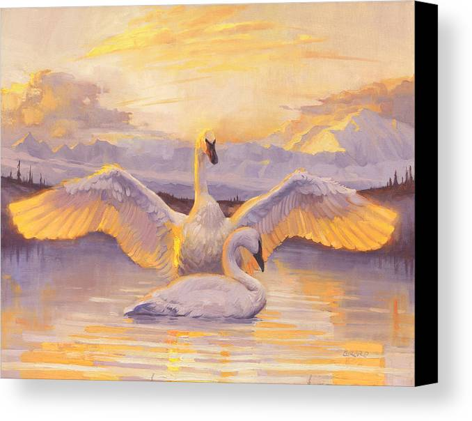 Swans Canvas Print featuring the painting Awakening by Francois Girard