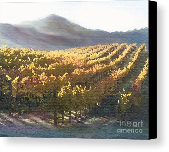 Corde Valle San Martin Ca Canvas Print featuring the painting California Vineyard Series Vineyard In The Mist by Artist and Photographer Laura Wrede