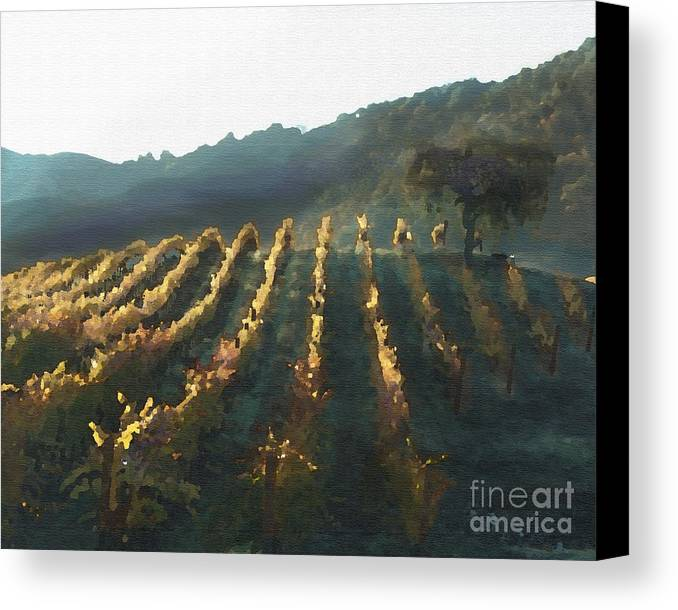 Corde Valle San Martin Ca Canvas Print featuring the painting California Vineyard Series Wine Country by Artist and Photographer Laura Wrede