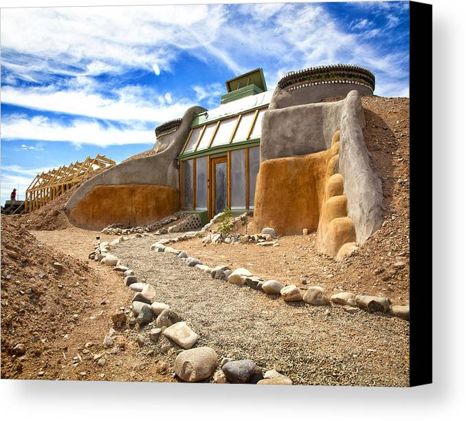 Landscapes Canvas Print featuring the photograph Earthship Taos by Shanna Gillette