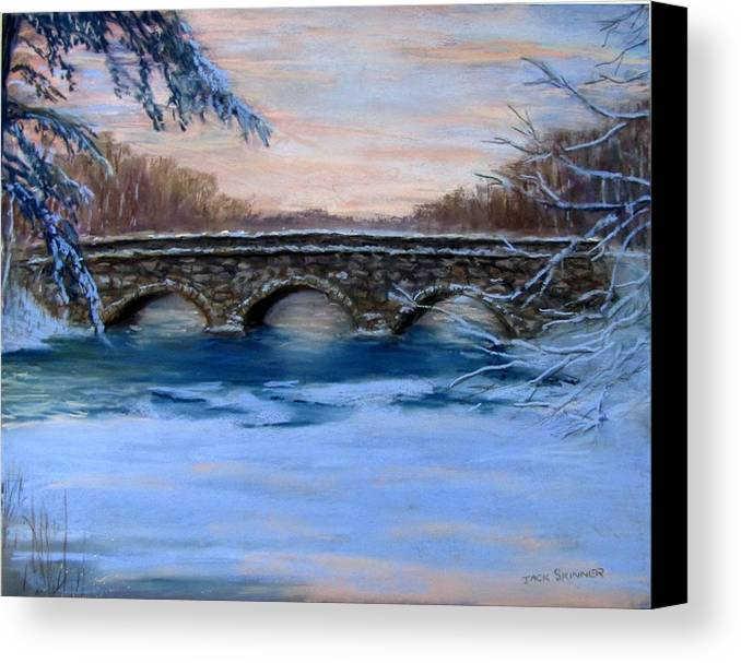 Concord. Winter Canvas Print featuring the painting Elm Street Bridge On A Winter's Morn by Jack Skinner