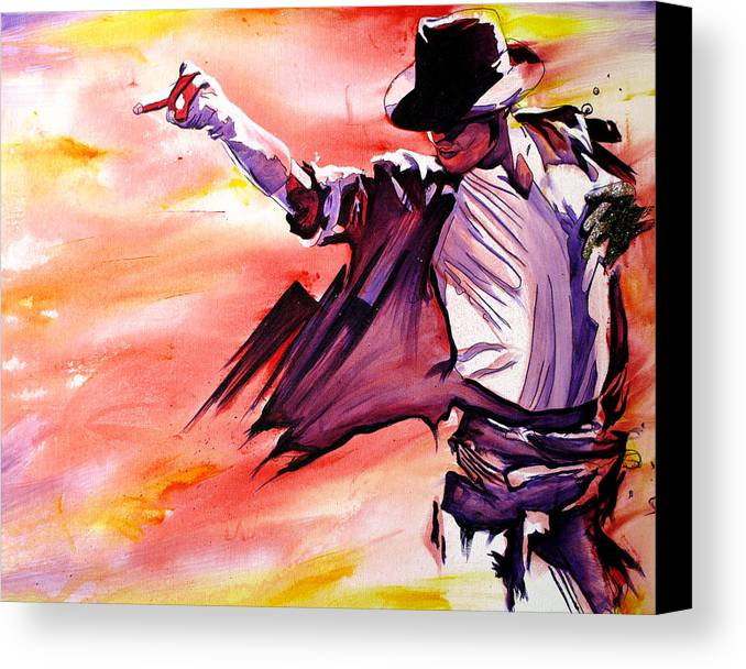 Michael Jackson Canvas Print featuring the painting Michael Jackson-billie Jean by Joshua Morton
