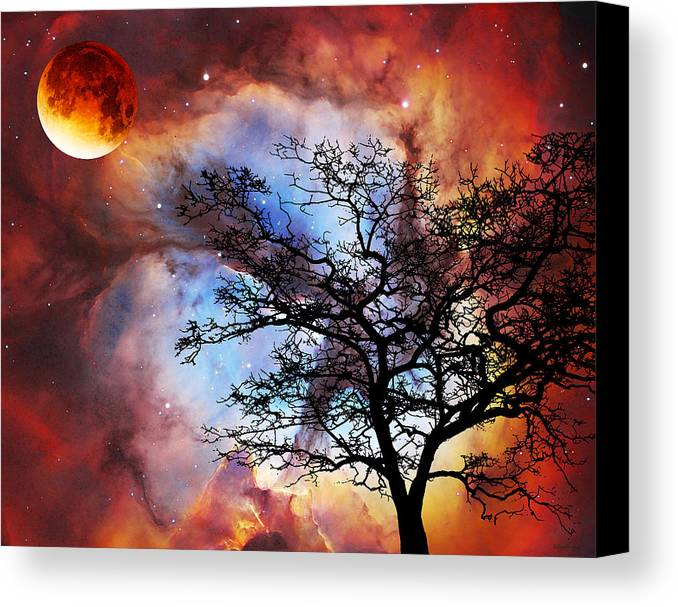 Abstract Canvas Print featuring the painting Night Sky Landscape Art By Sharon Cummings by Sharon Cummings
