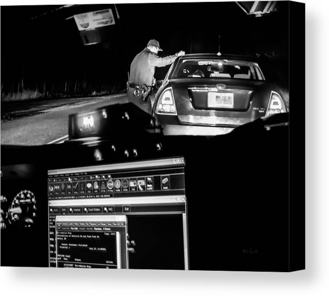 Police Canvas Print featuring the photograph Night Traffic Stop by Bob Orsillo