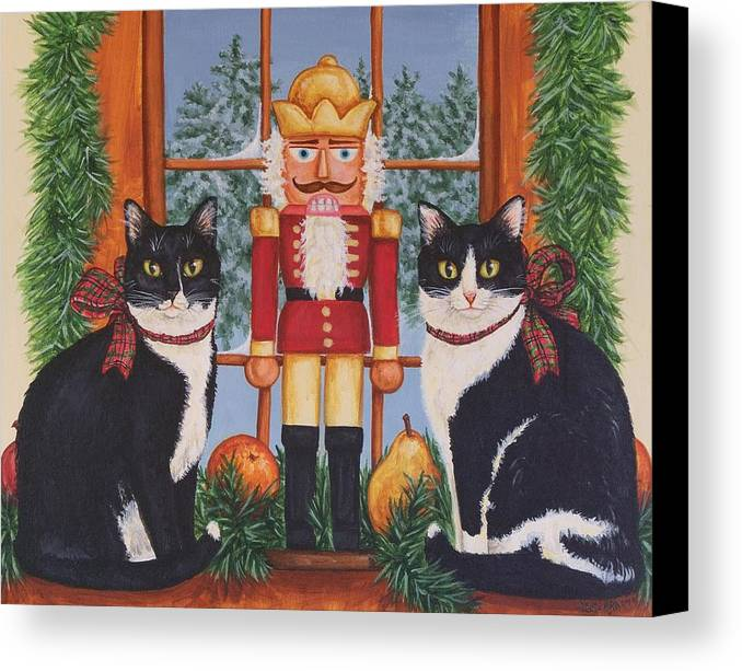 Cats Canvas Print featuring the painting Nutcracker Sweeties by Beth Clark-McDonal