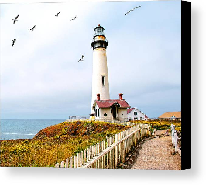Pigeon Point Lighthouse Canvas Print featuring the photograph Pigeon Point Lighthouse by Artist and Photographer Laura Wrede
