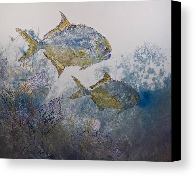 Fish Canvas Print featuring the mixed media Pompano And Sea Fans by Nancy Gorr