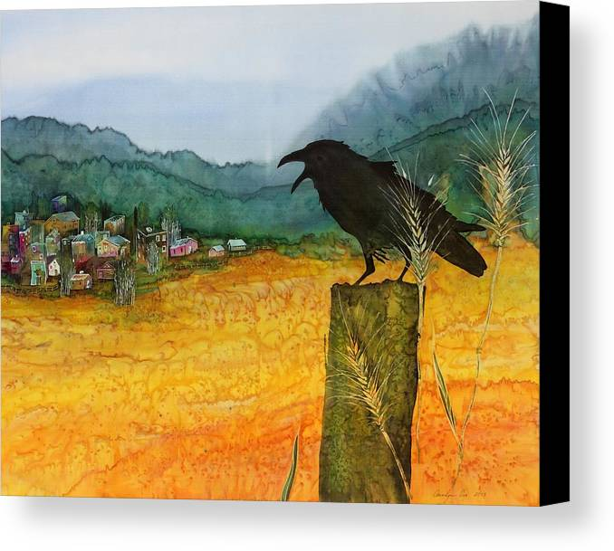 Ravens Canvas Print featuring the tapestry - textile Raven And The Village 2 by Carolyn Doe