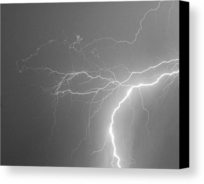 Lightning Canvas Print featuring the photograph Reaching Out Touching Me Touching You Bw by James BO Insogna