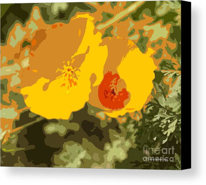 Abstract California Poppies Photographs Canvas Print featuring the photograph Retro Abstract Poppies 3 by Artist and Photographer Laura Wrede