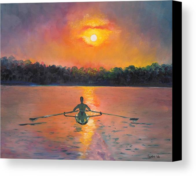 Rowing Canvas Print featuring the painting Rowing Away by Eve Wheeler