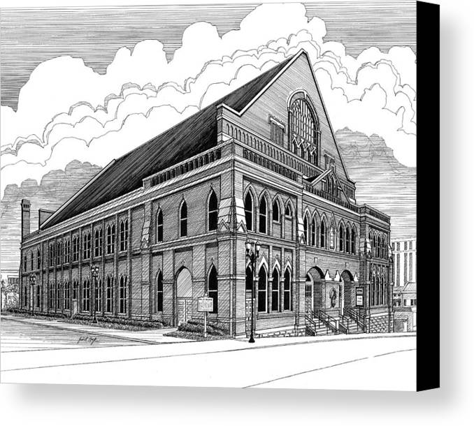 Architecture Canvas Print featuring the drawing Ryman Auditorium In Nashville Tn by Janet King