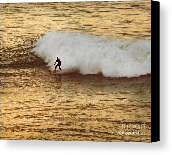 Surfer Canvas Print featuring the photograph Santa Cruz Surfing At The Golden Hour by Artist and Photographer Laura Wrede
