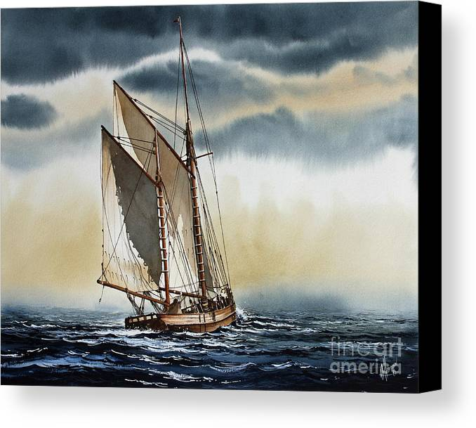 Schooner Art Canvas Print featuring the painting Schooner by James Williamson