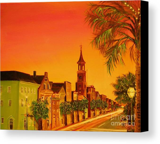 City Canvas Print featuring the painting Southern Eve by Barbara Hayes