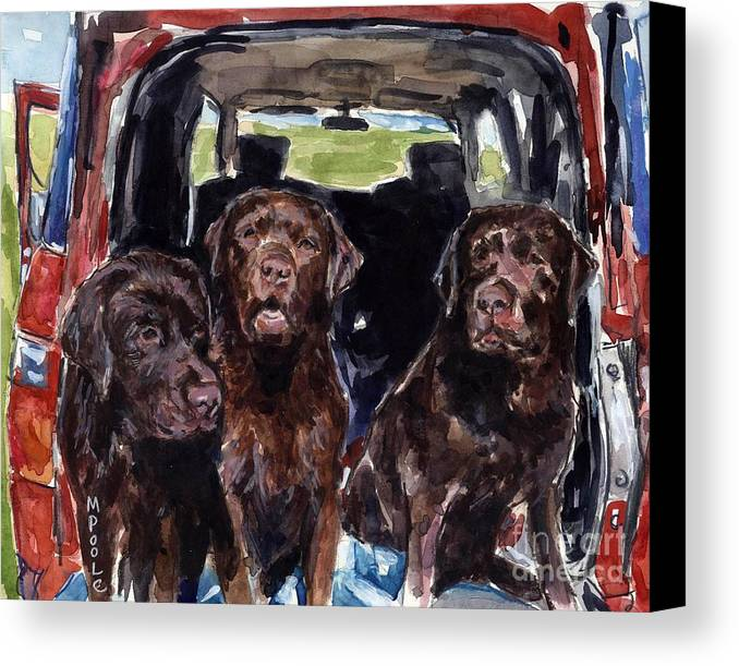 Chocolate Labrador Retrievers Canvas Print featuring the painting Tailgaters by Molly Poole