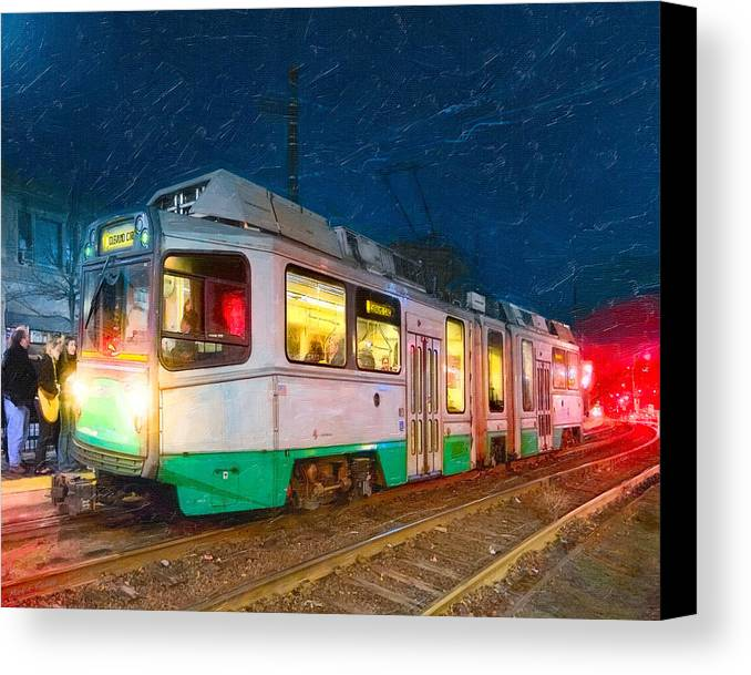Green Line Train Canvas Print featuring the photograph Taking The T At Night In Boston by Mark E Tisdale