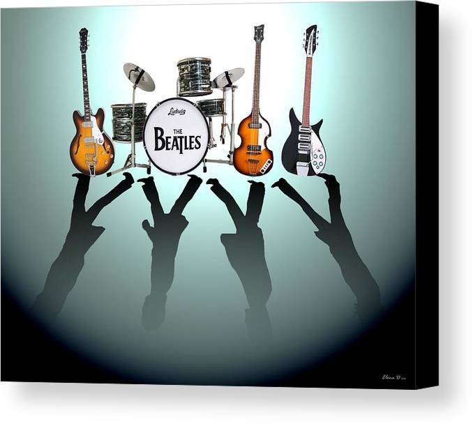 The Beatles Canvas Print featuring the digital art The Beatles by Lena Day