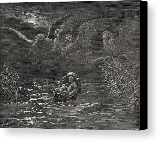 Baby Canvas Print featuring the painting The Child Moses On The Nile by Gustave Dore