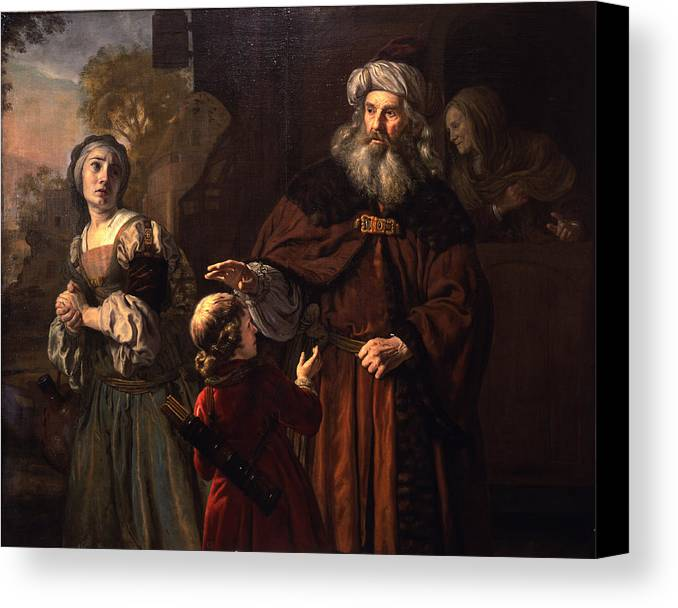 Exile Canvas Print featuring the painting The Dismissal Of Hagar, 1650 by Jan Victors