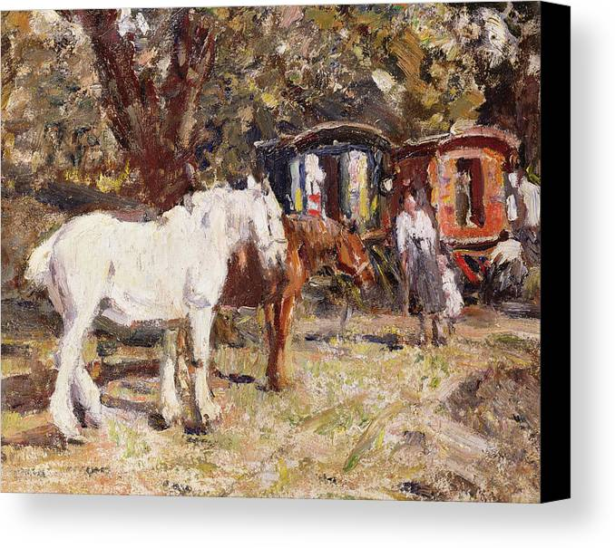 Horse Canvas Print featuring the painting The Gypsy Encampment by Harry Fidler