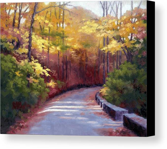 Autumn Paintings Canvas Print featuring the painting The Old Roadway In Autumn II by Janet King