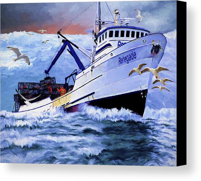 Alaskan King Crabber Canvas Print featuring the painting Time To Go Home by David Wagner
