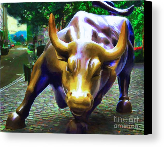 Wallstreet Canvas Print featuring the photograph Wall Street Bull V2 by Wingsdomain Art and Photography
