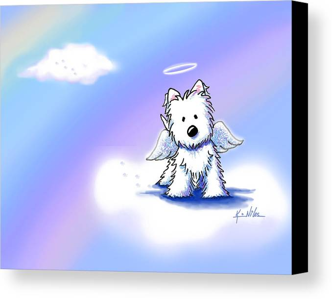 Westie Terrier Canvas Print featuring the drawing Westie Angel At Rainbow Bridge by Kim Niles
