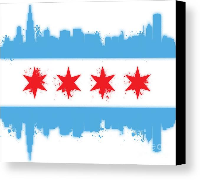 Chicago Canvas Print featuring the digital art White Chicago Flag by Mike Maher