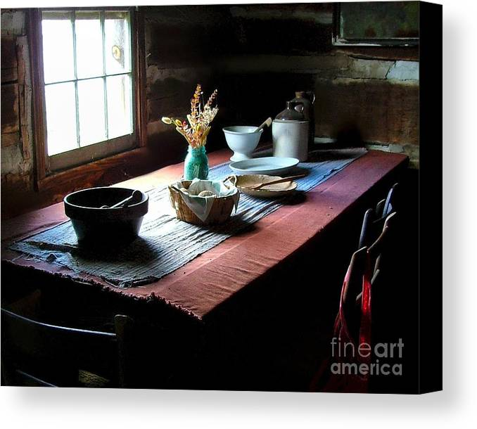 Old Cabins Canvas Print featuring the photograph Old Cabin Table by Julie Dant