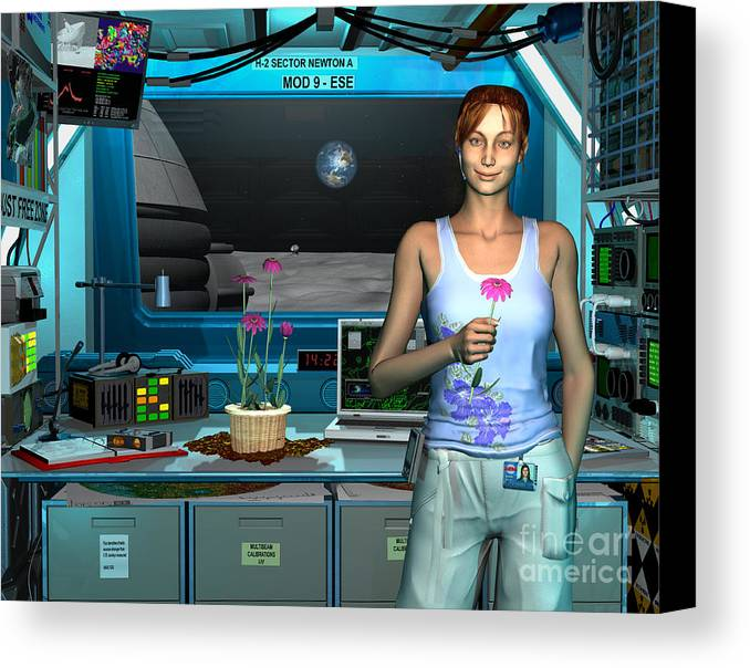 Space Exploration Canvas Print featuring the digital art A Young Radio Astronomer Stationed by Walter Myers