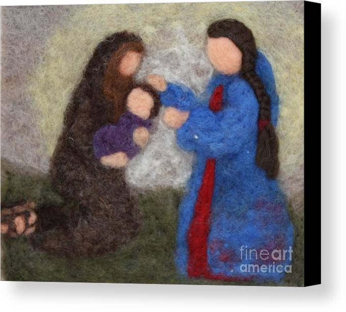 Needle Canvas Print featuring the tapestry - textile Creche Scene by Nicole Besack