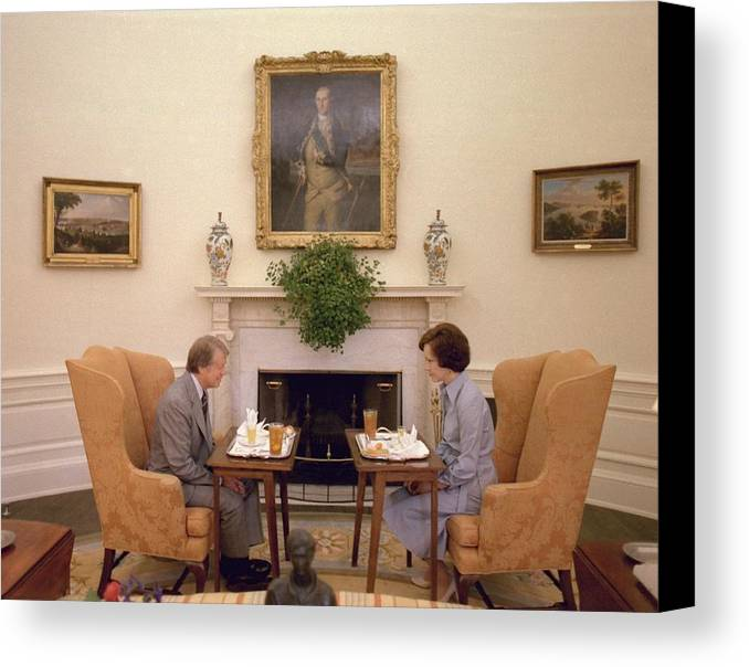 History Canvas Print featuring the photograph Jimmy Carter And Rosalynn Carter Having by Everett
