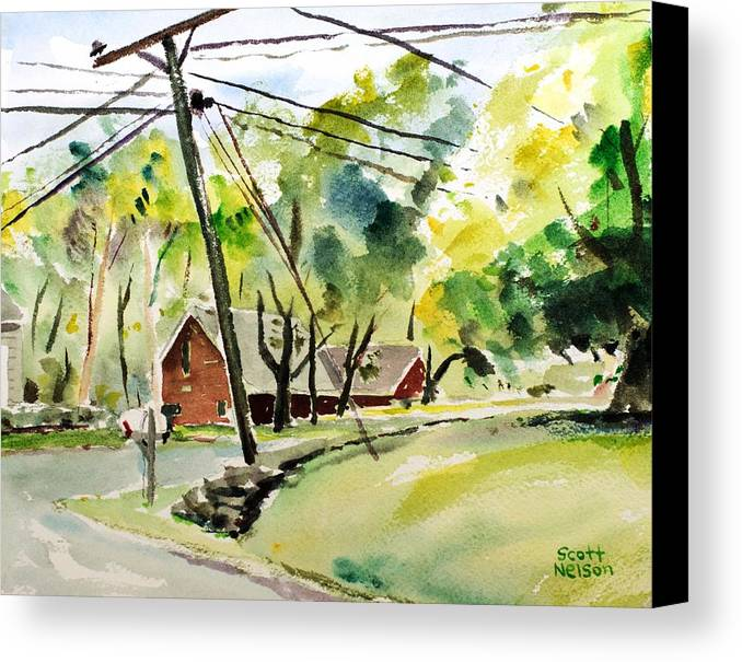 Powerlines Canvas Print featuring the painting Power Pole by Scott Nelson