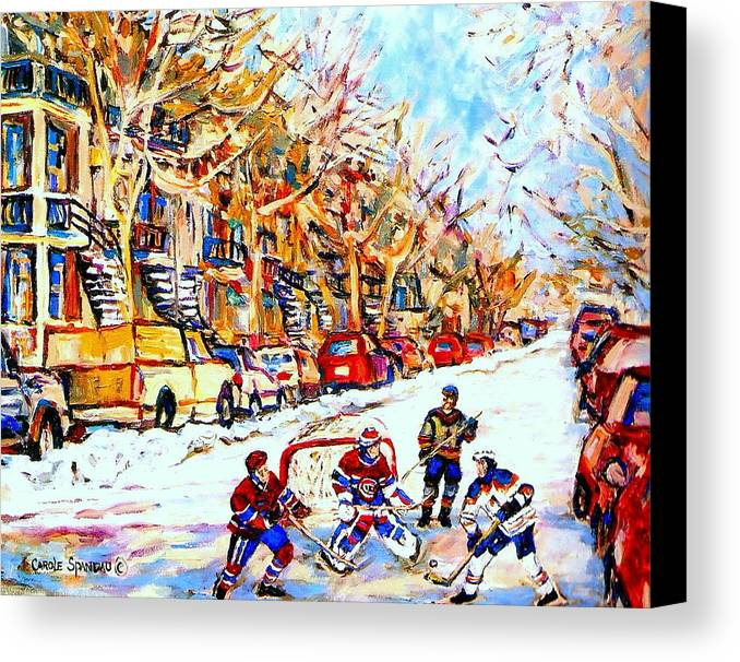 Hockey Canvas Print featuring the painting Hockey Game On Colonial Street Near Roy Montreal City Scene by Carole Spandau