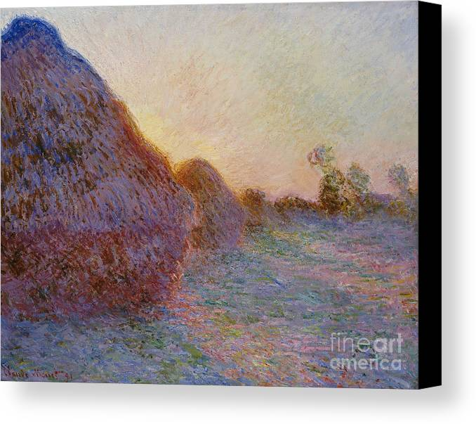 French Canvas Print featuring the painting Haystacks by Claude Monet