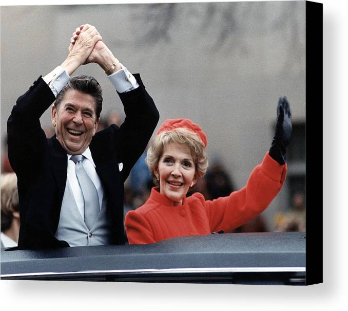 1980s Canvas Print featuring the photograph President Ronald Reagan And First Lady by Everett
