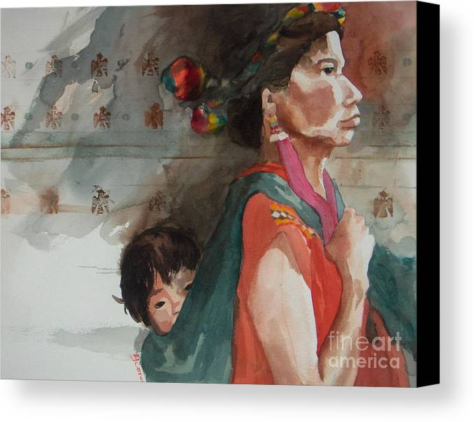 A Native Guatemalan Mother And Child Canvas Print featuring the painting A Mother's Resolve by Elizabeth Carr