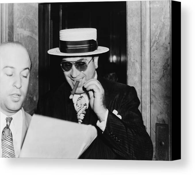 History Canvas Print featuring the photograph Al Capone, With A Cigar And A Big by Everett